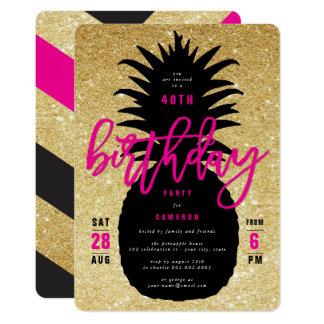 Cartão A festa de aniversário chique do abacaxi do brilho