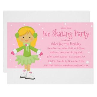 Cartão A festa de aniversário cor-de-rosa do patinagem no