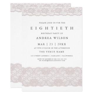 Cartão A festa de aniversário cor-de-rosa elegante do 80