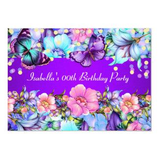Cartão A festa de aniversário cor-de-rosa roxa da