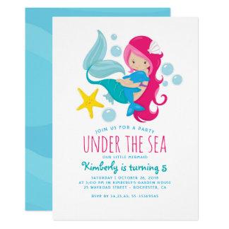 Cartão A festa de aniversário da menina doce da sereia