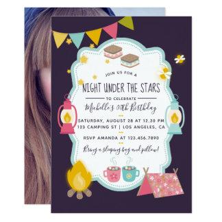 Cartão A festa de aniversário de Girlie Glamping adiciona