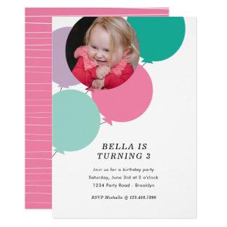 Cartão A festa de aniversário do balão convida
