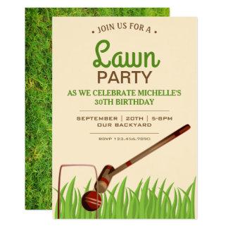 Cartão A festa de aniversário do gramado do jogo do