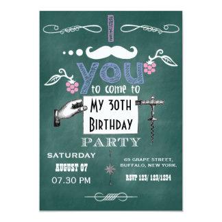 Cartão A festa de aniversário do quadro do moustache do