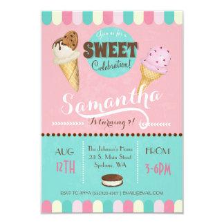 Cartão A festa de aniversário doce do sorvete convida
