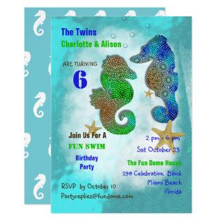 Cartão A festa de aniversário dos gêmeos dos cavalos