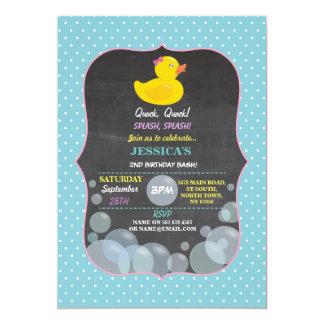 Cartão A festa de aniversário Ducky da bolha do pato de