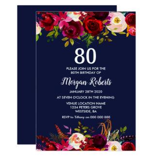 Cartão A festa de aniversário floral do 80 de Borgonha do