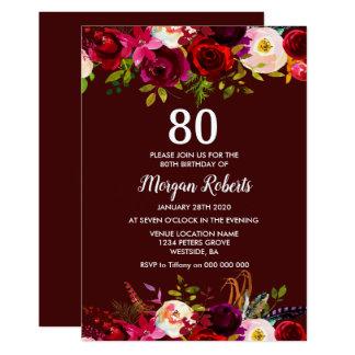 Cartão A festa de aniversário floral moderna do 80 de