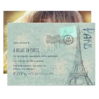 Cartão A festa de aniversário temático de Paris adiciona