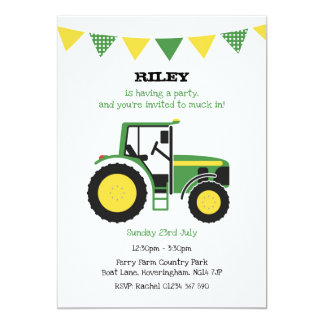 Cartão A festa de aniversário verde do trator convida