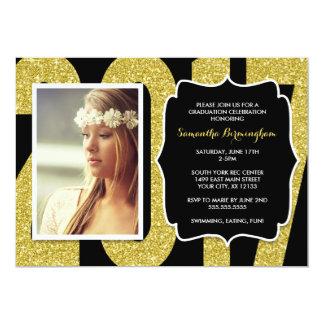 Cartão A festa de formatura 2017 preta da foto do ouro