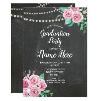 Cartão A festa de formatura convida rosas do rosa do giz