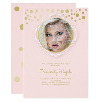Cartão A festa de formatura da foto convida, rosa e ouro