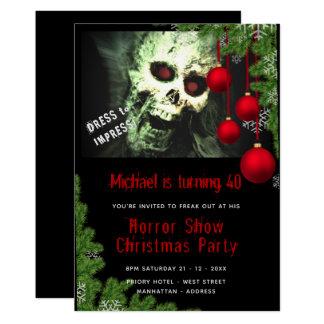 Cartão A festa de Natal do HORROR convida zombis