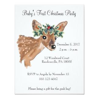 Cartão A festa de Natal dos cervos da jovem corça convida