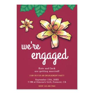 Cartão A festa de noivado bonito de Borgonha da flor do