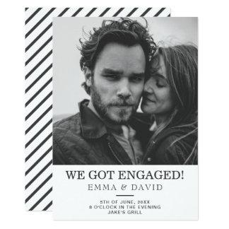 Cartão A festa de noivado branca preta simples da foto