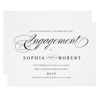 Cartão A festa de noivado elegante do roteiro acopla o