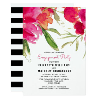 Cartão A festa de noivado floral romântica da aguarela