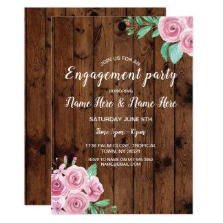 Cartão A festa de noivado floresce rosas que cor-de-rosa