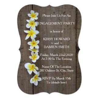 Cartão A festa de noivado rústica do Frangipani tropical