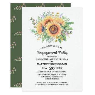 Cartão A festa de noivado rústica do girassol do país