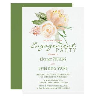 Cartão A festa de noivado rústica floral do ouro do