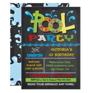 Cartão A festa na piscina do quadro com água espirra