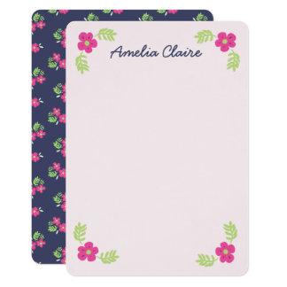 Cartão A flor bonito do limão do rosa do marinho