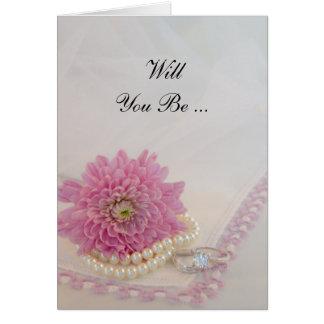 Cartão A flor cor-de-rosa, anéis do laço quê-lo seja