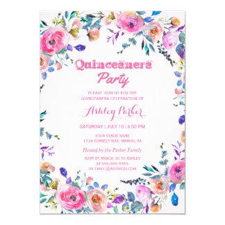 Cartão A flor cor-de-rosa tropical feminino Quinceanera