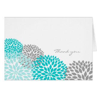 Cartão A flor da dália de turquesa e de cinzas