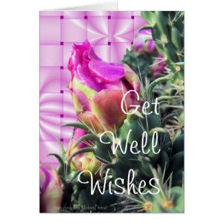 Cartão A flor do cacto GetWell-personaliza para toda a