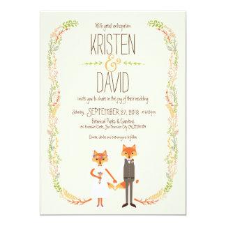 Cartão A floresta lunática Foxes o casamento do marfim