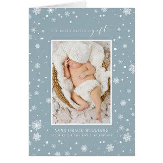 Cartão A foto recém-nascida do melhor presente do Natal
