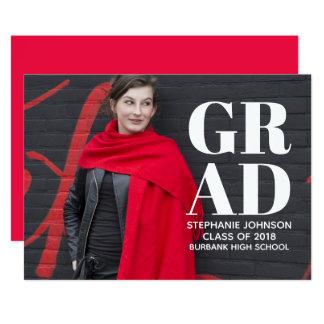 Cartão A graduação corajosa da foto da tipografia convida