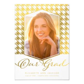 Cartão A graduação da foto de Houndstooth do ouro do