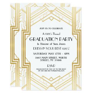 Cartão a graduação do art deco do 1920 convida o ouro do