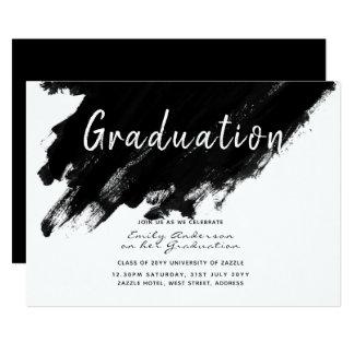 Cartão A graduação moderna convida - pinte o branco preto