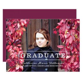 Cartão A graduação moderna da foto da tipografia convida