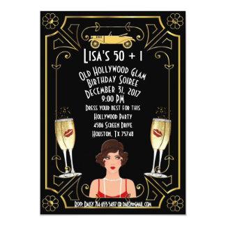 Cartão A grande menina Hollywood dourado do Flapper de