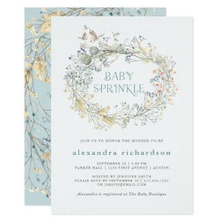 Cartão A grinalda do Wildflower com o bebê da borboleta |