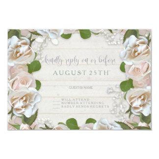 Cartão A grinalda floral do celeiro rústico de RSVP cora