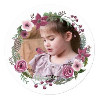Cartão A grinalda floral do Natal floresce o círculo de