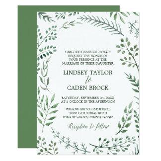 Cartão A grinalda rústica com verde sae do casamento