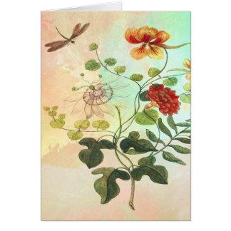 Cartão A ilustração botânica floral do vintage floresce a