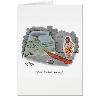 Cartão A invenção do aquecimento central. Estilo do homem