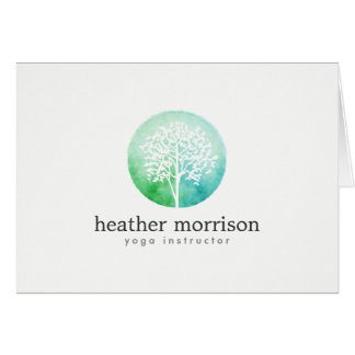Cartão A ioga e o bem-estar da árvore da aguarela